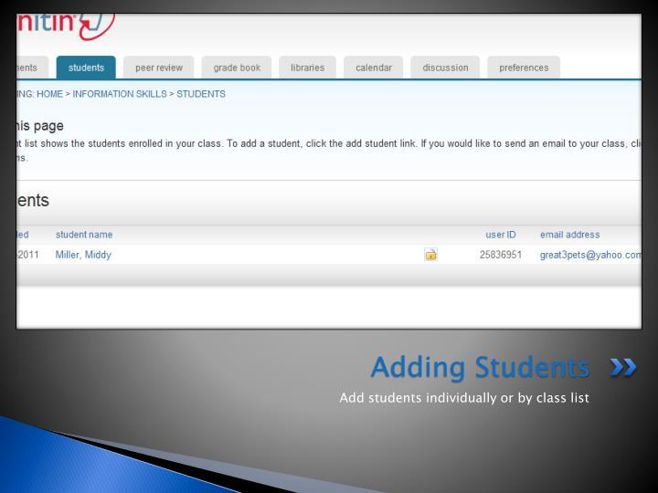 Adding Students