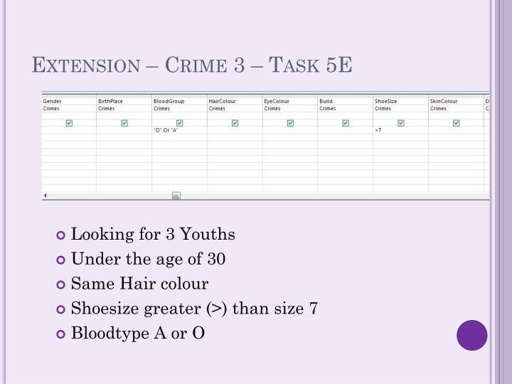 Extension – Crime 3 – Task