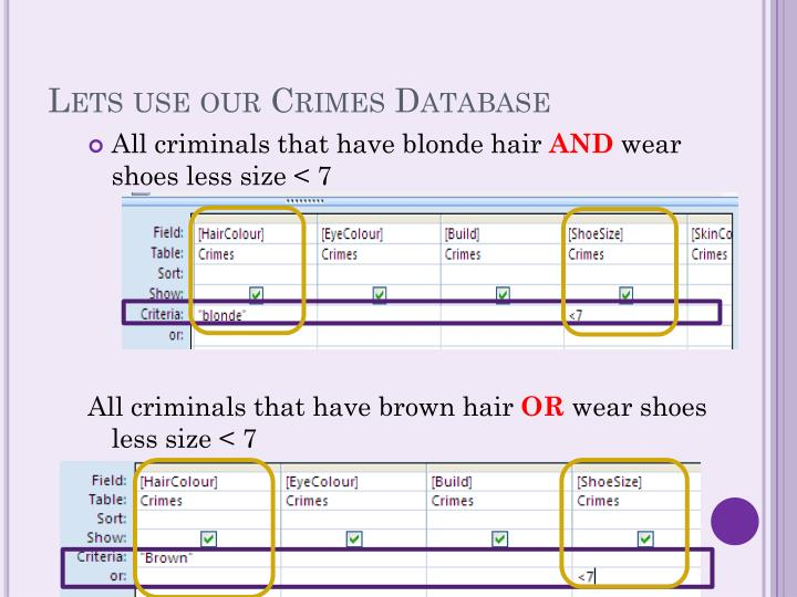 Lets use our Crimes Database