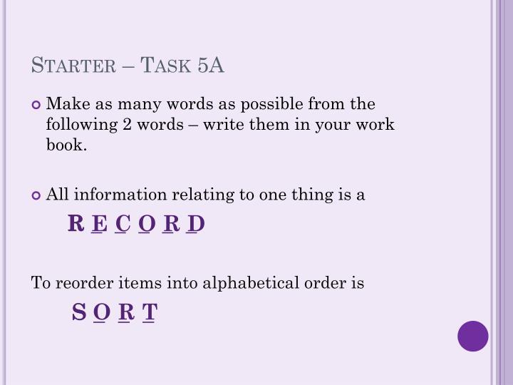 Starter – Task