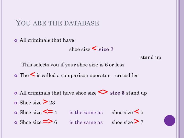 You are the database