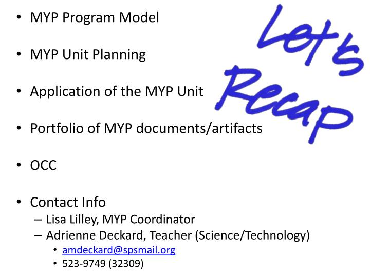 MYP Program Model