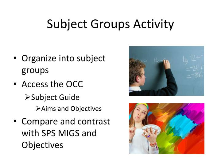 Subject Groups Activity