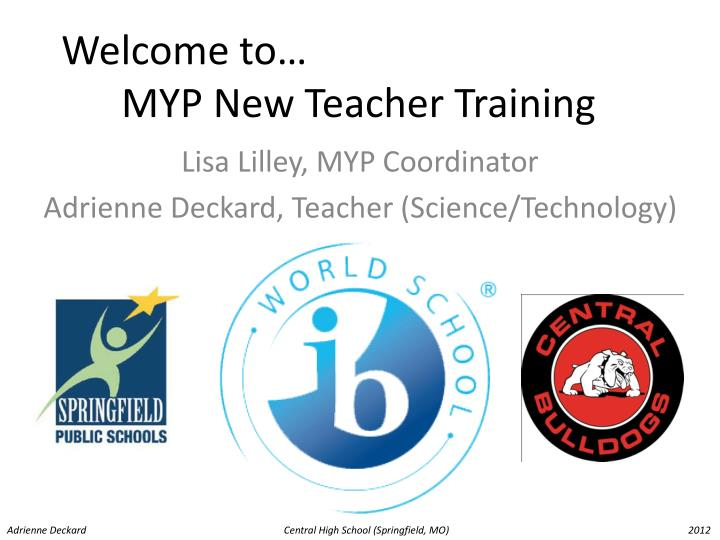 Welcome to myp new teacher training