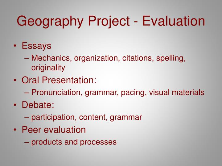 Geography Project - Evaluation