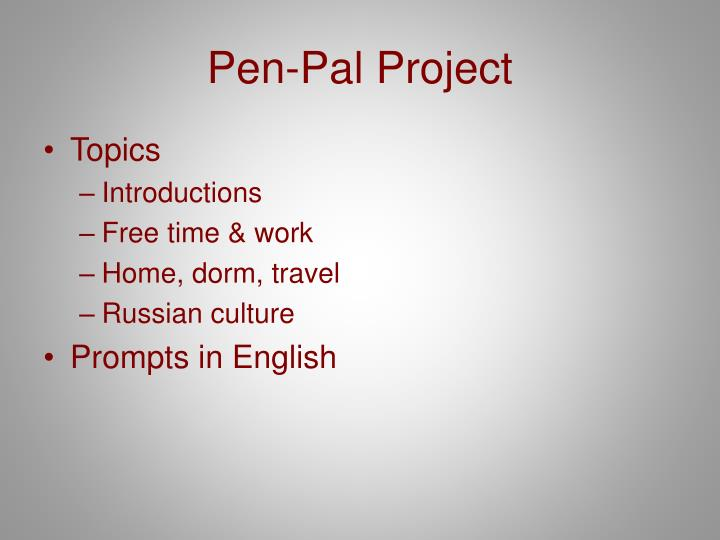 Pen-Pal Project
