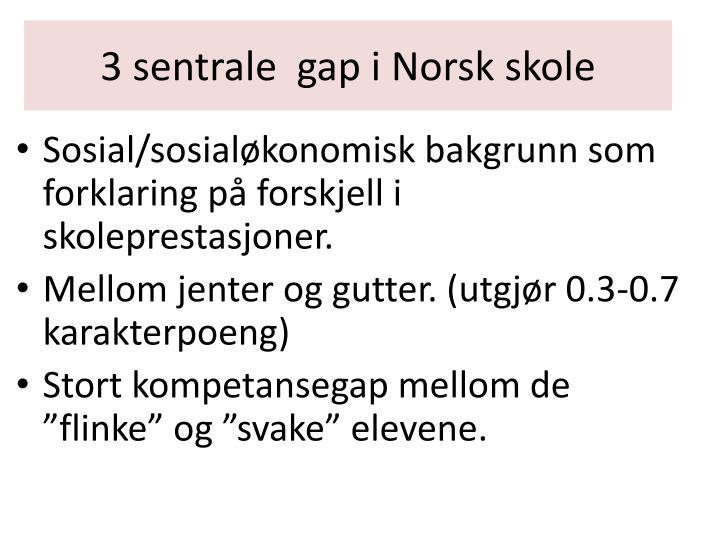 3 sentrale  gap i Norsk skole