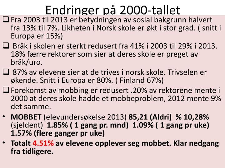 Endringer på 2000-tallet