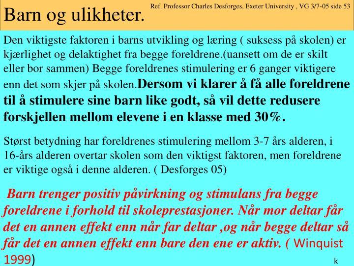 Ref. Professor Charles Desforges, Exeter University , VG 3/7-05 side 53