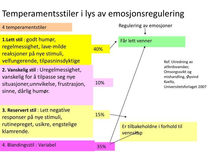 Temperamentsstiler i lys av emosjonsregulering