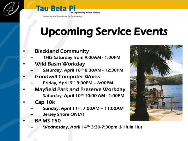 Upcoming Service Events