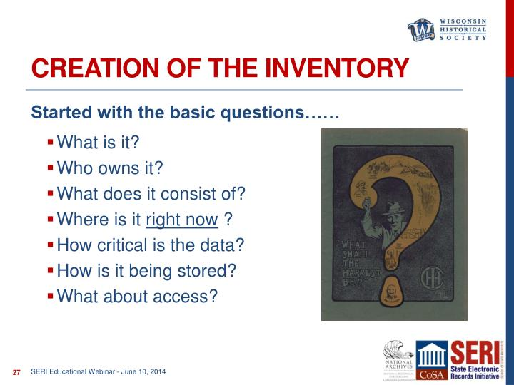Creation of the Inventory