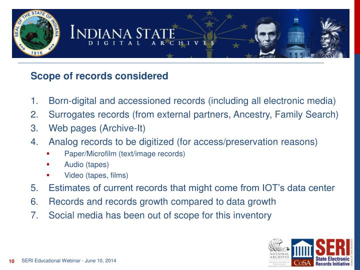 Scope of records considered