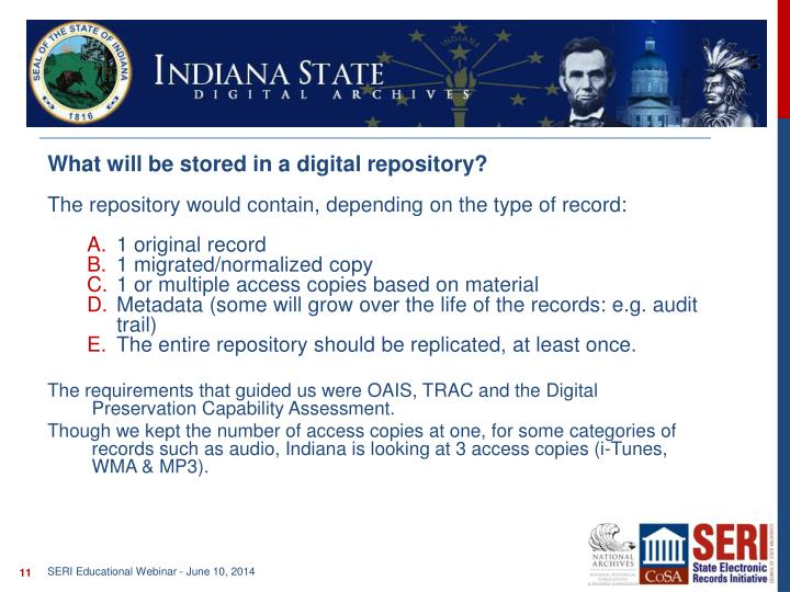 What will be stored in a digital repository?