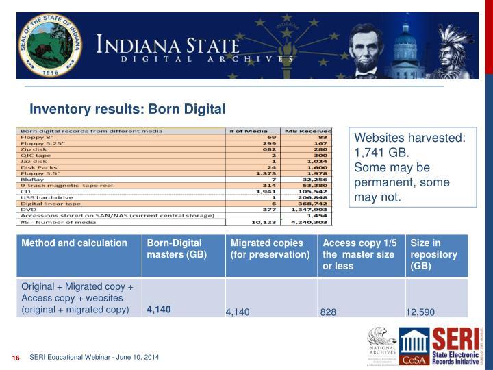 Inventory results: Born Digital