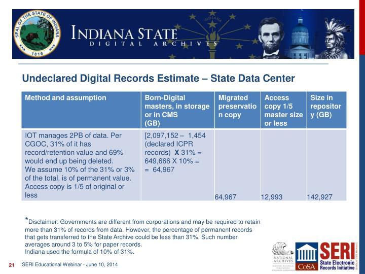 Undeclared Digital Records Estimate – State Data Center