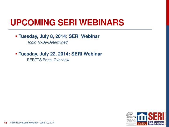 Upcoming SERI webinars