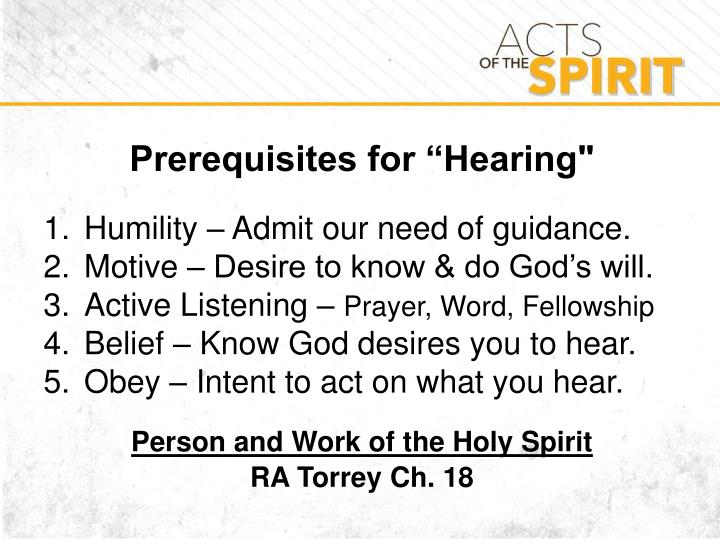 "Prerequisites for ""Hearing"""