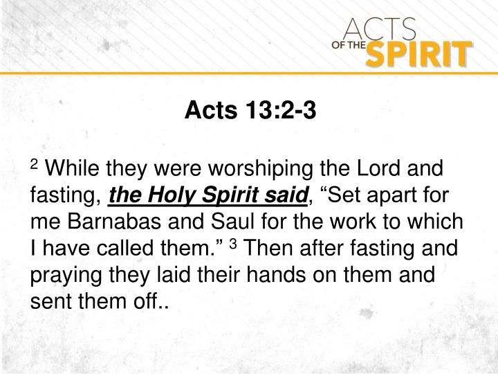 Acts 13:2-3