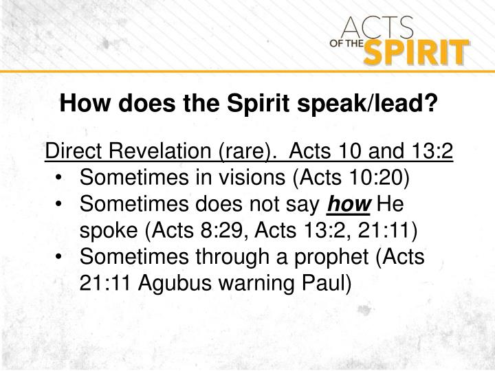 How does the Spirit speak/lead?