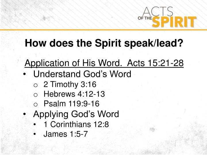 How does the Spirit speak/lead?