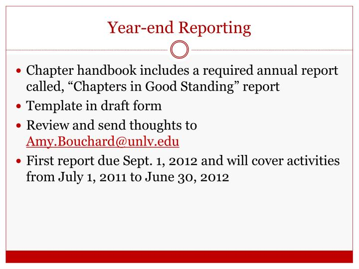 Year-end Reporting
