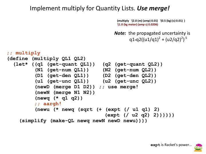 Implement multiply for Quantity Lists.