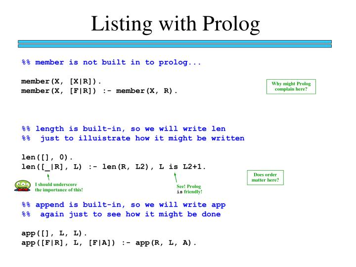 Listing with Prolog