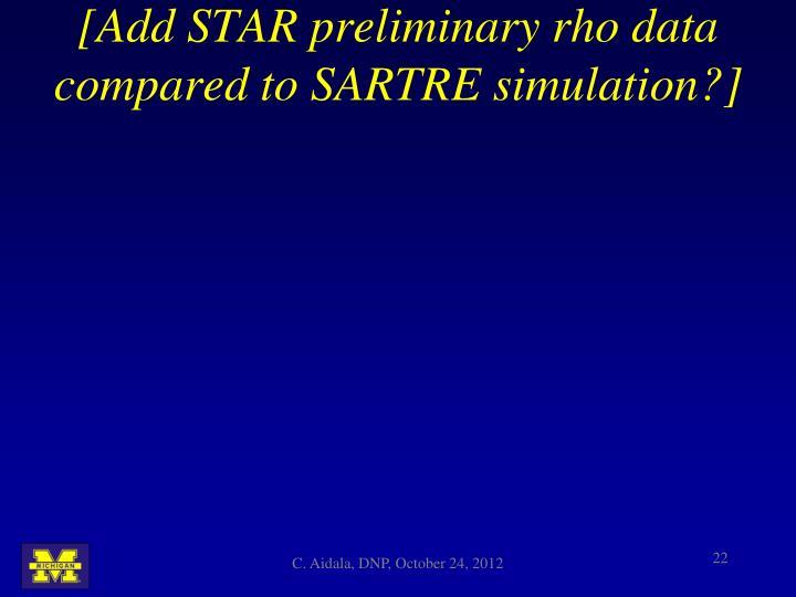 [Add STAR preliminary rho data compared to SARTRE simulation?]