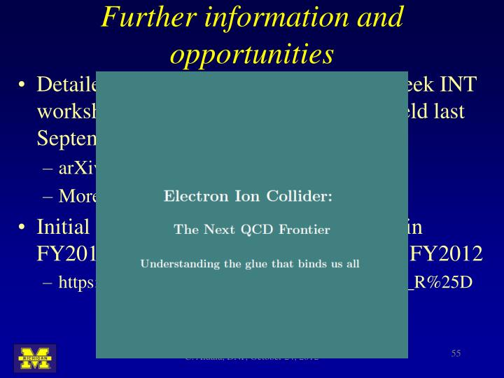 Further information and opportunities