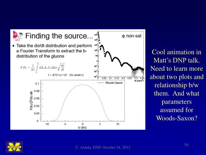 Cool animation in Matt's DNP talk.  Need to learn more about two plots and relationship b/w them.  And what parameters assumed for Woods-Saxon?