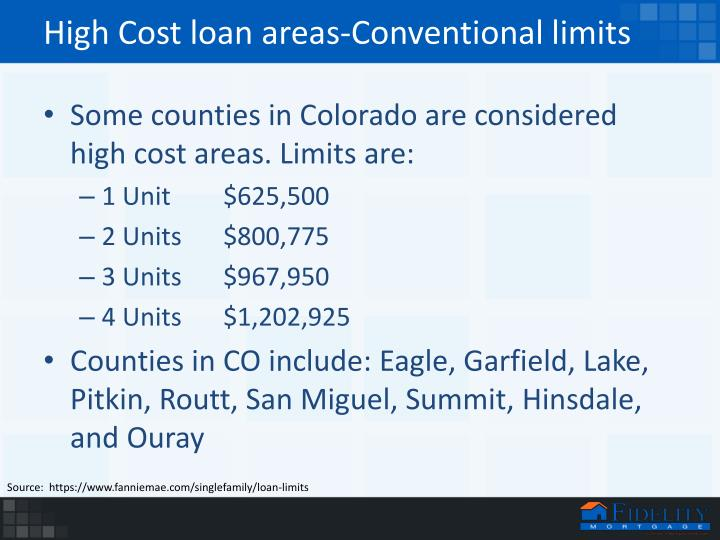 High Cost loan areas-Conventional limits