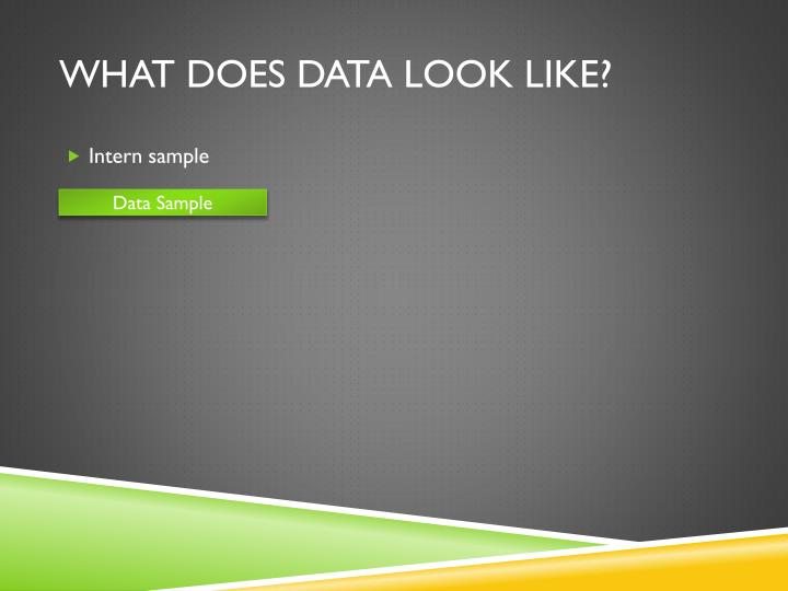 What does Data look like?