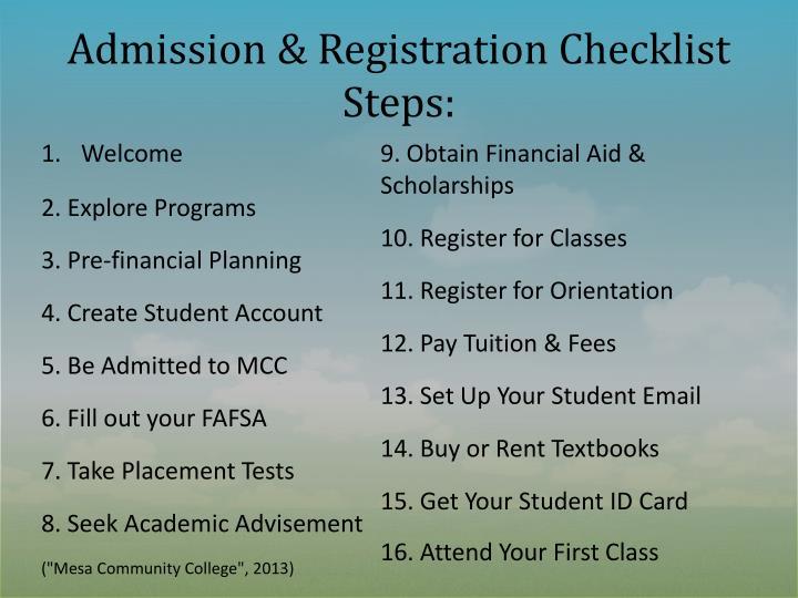 Admission & Registration Checklist Steps: