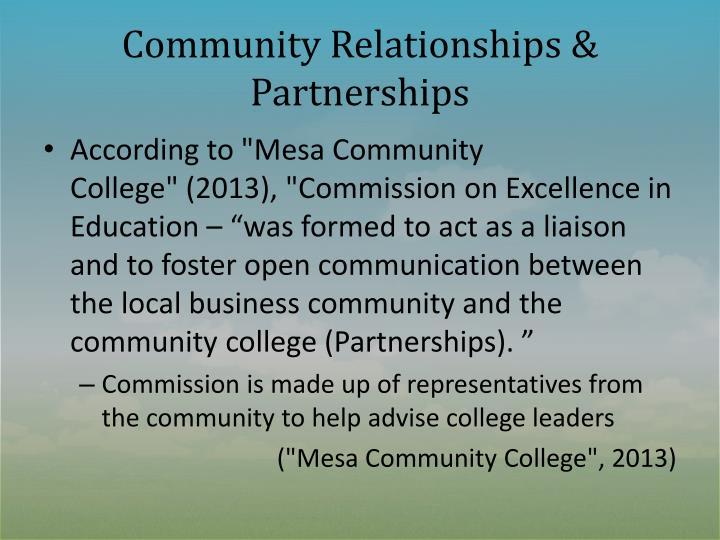 Community Relationships & Partnerships