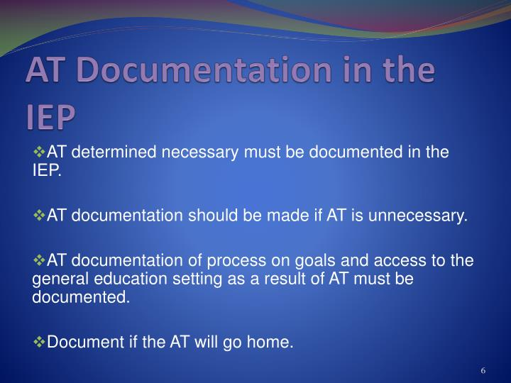AT Documentation in the IEP