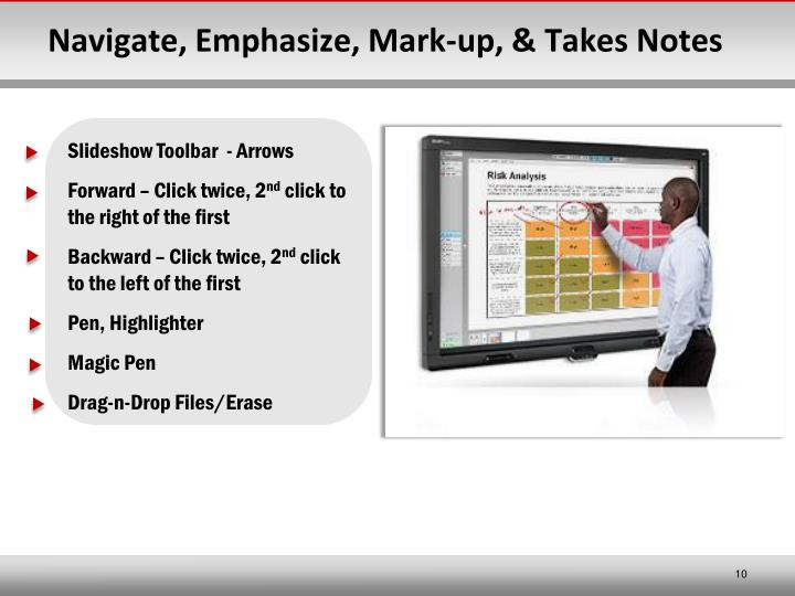 Navigate, Emphasize, Mark-up, & Takes Notes
