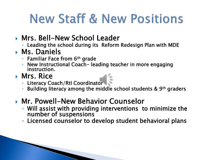 New Staff & New Positions