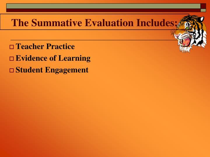 The Summative Evaluation Includes: