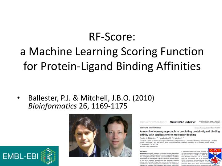 Rf score a machine learning scoring function for protein ligand binding affinities
