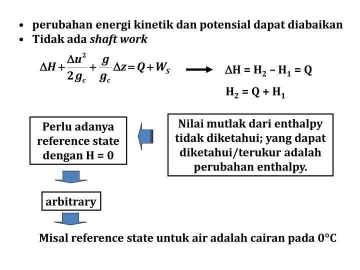 perubahan energi kinetik dan potensial dapat diabaikan