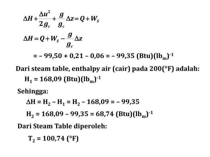 = – 99,50 + 0,21 – 0,06 = – 99,35 (Btu)(lb