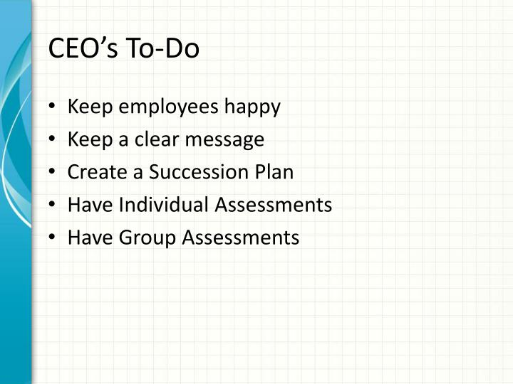 CEO's To-Do