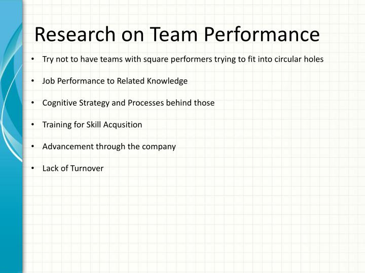 Research on Team Performance