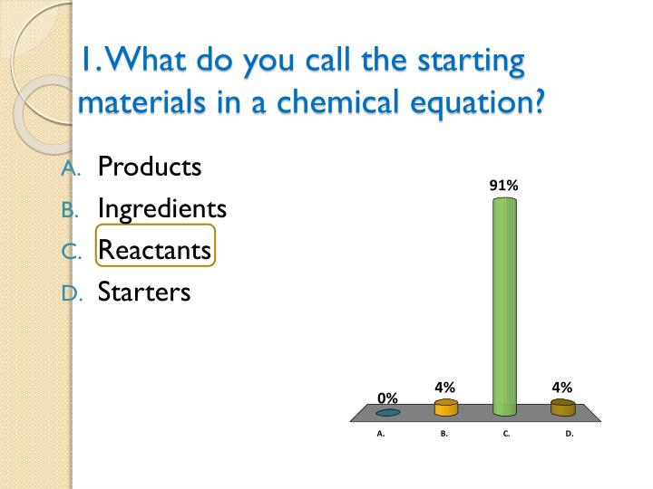 1. What do you call the starting materials in a chemical equation?