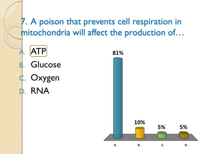 7.  A poison that prevents cell respiration in mitochondria will affect the production of…
