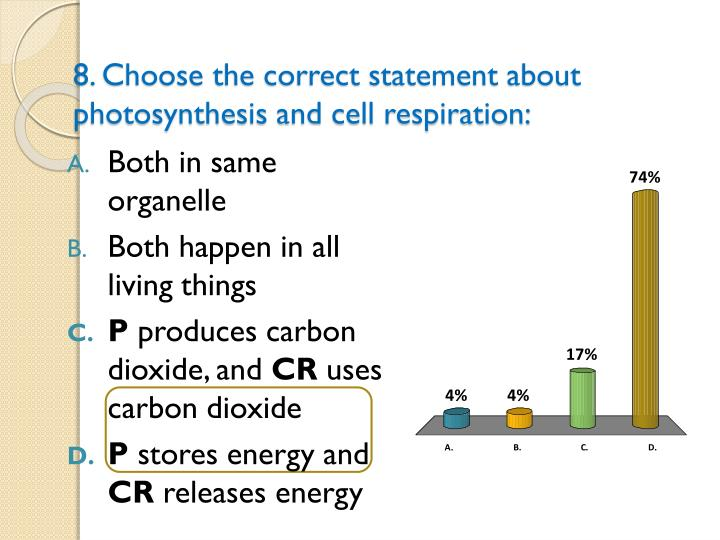 8. Choose the correct statement about photosynthesis and cell respiration: