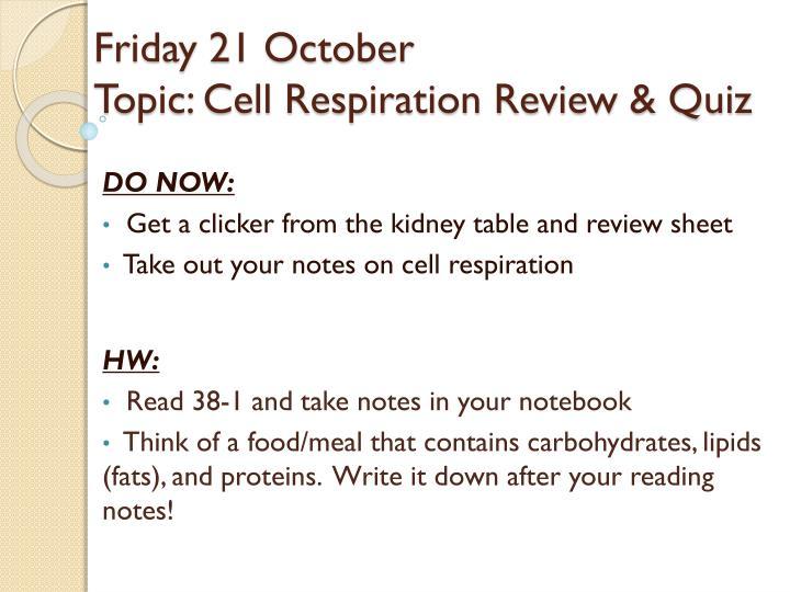 Friday 21 October