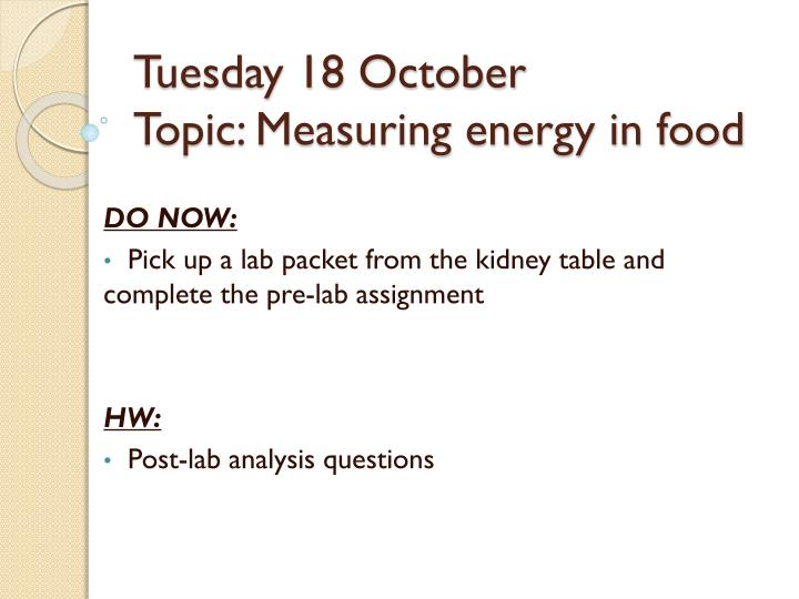 Tuesday 18 October