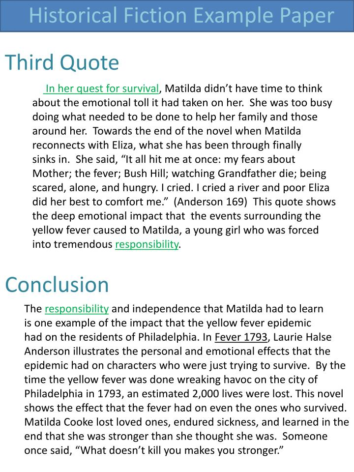 Historical Fiction Example Paper